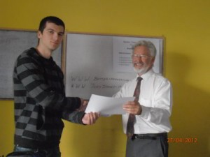Galin Receiving his Certificate